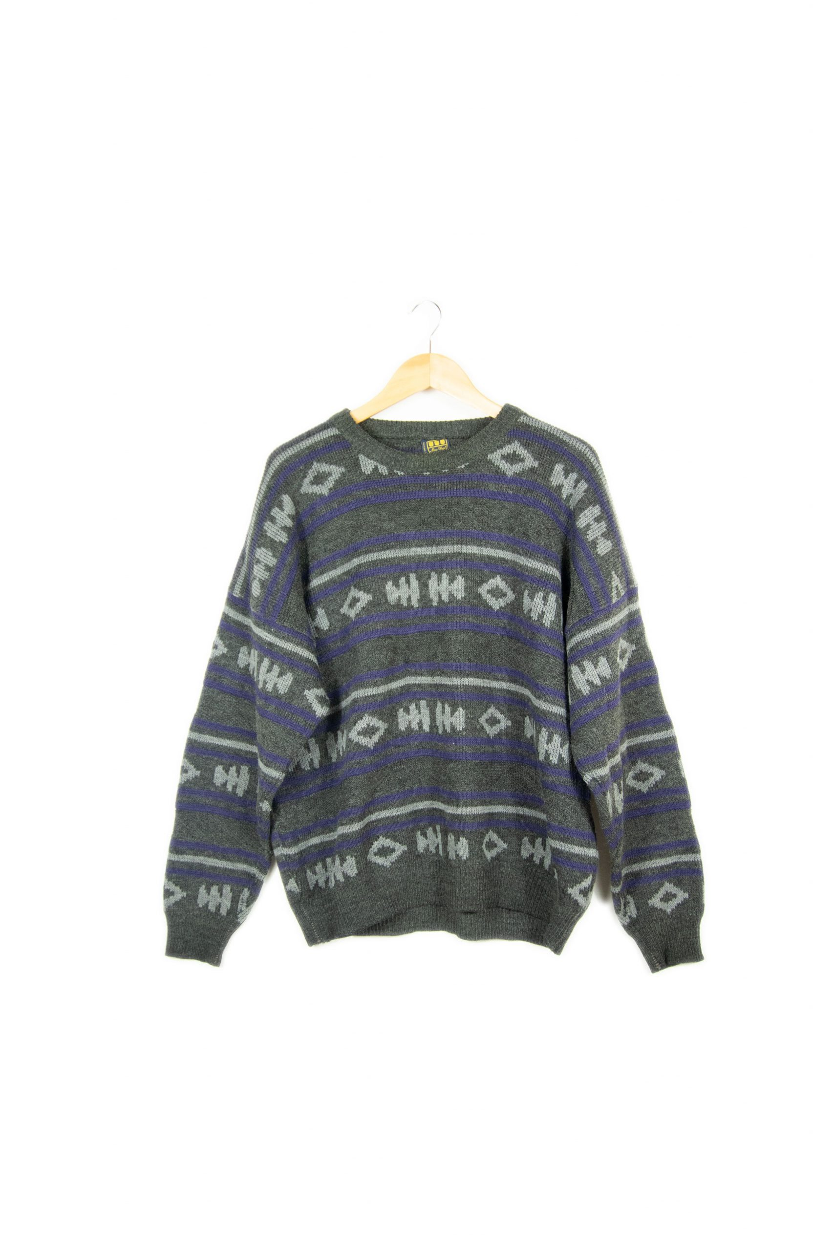 Pull gris à motif made in france