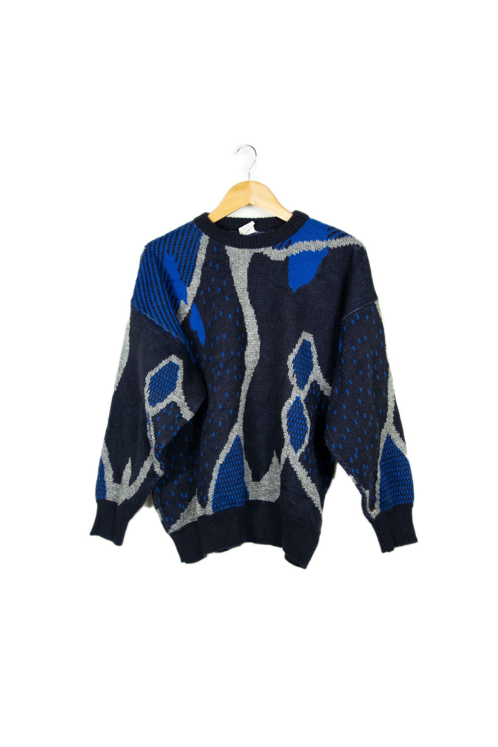 Pull bleu à motifs