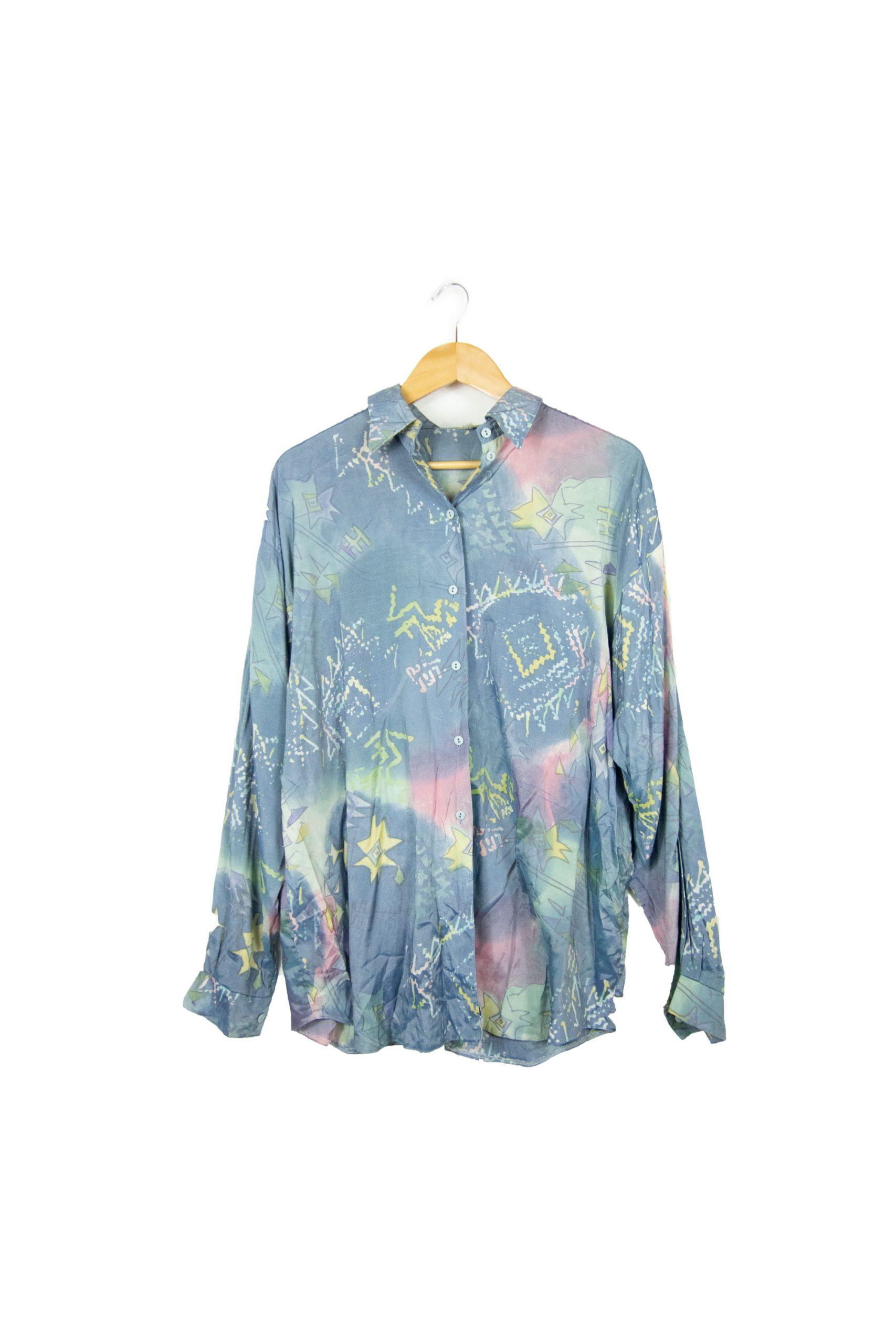 chemise 80s bleue à motifs