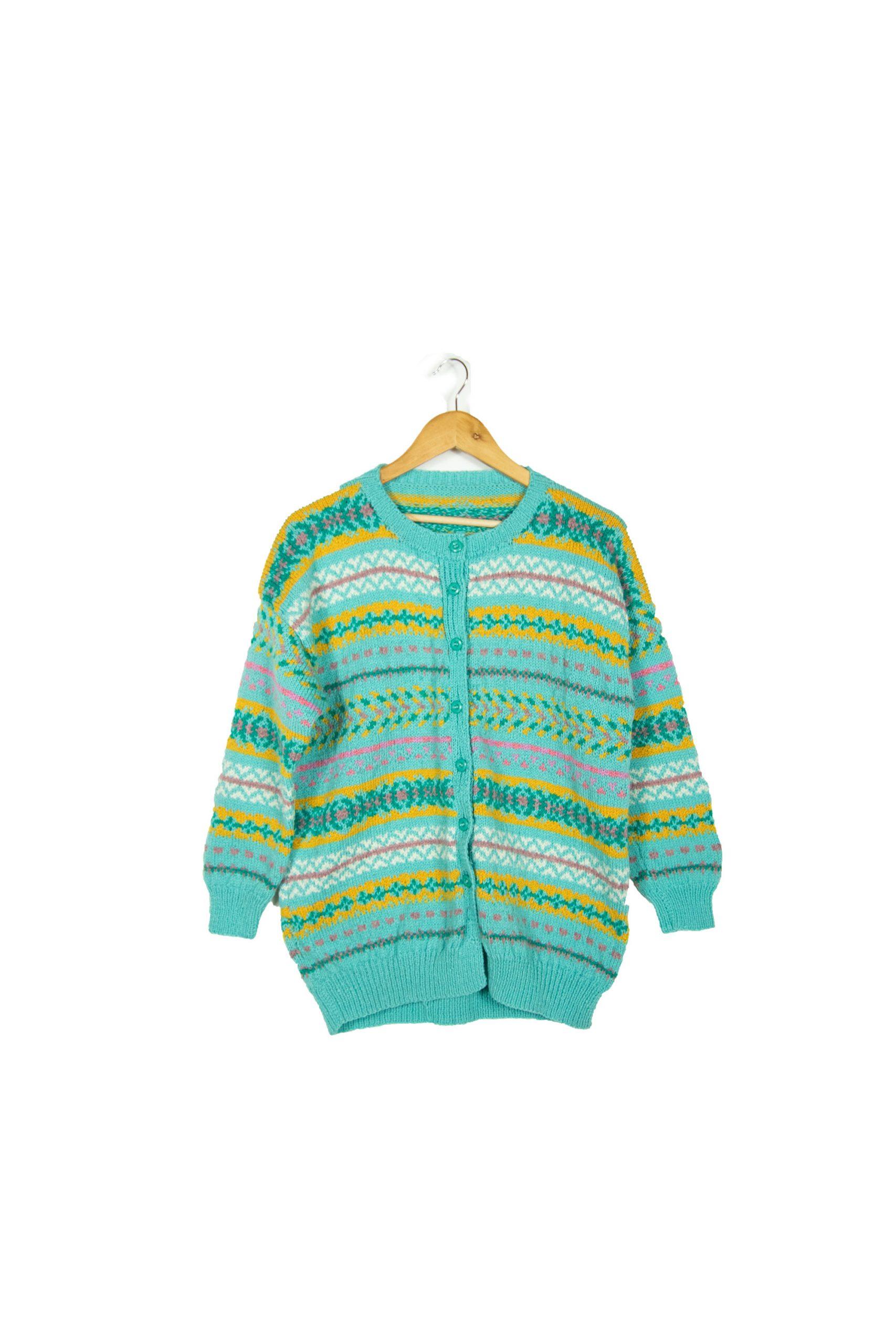 Gilet en laine turquoise