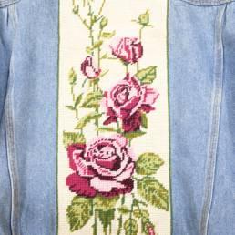 veste jean canevas fleurs
