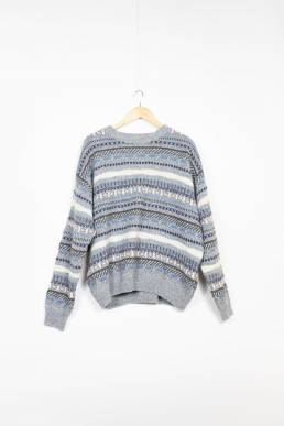pull gris hiver vintage