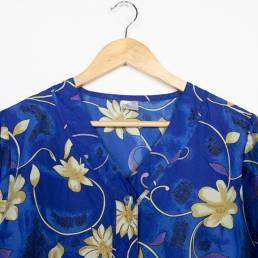 chemisier vintage bleu fleurs