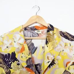 chemisier vintage jaune fleurs