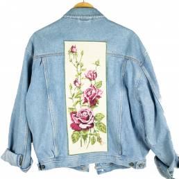 Veste jean canevas fleur